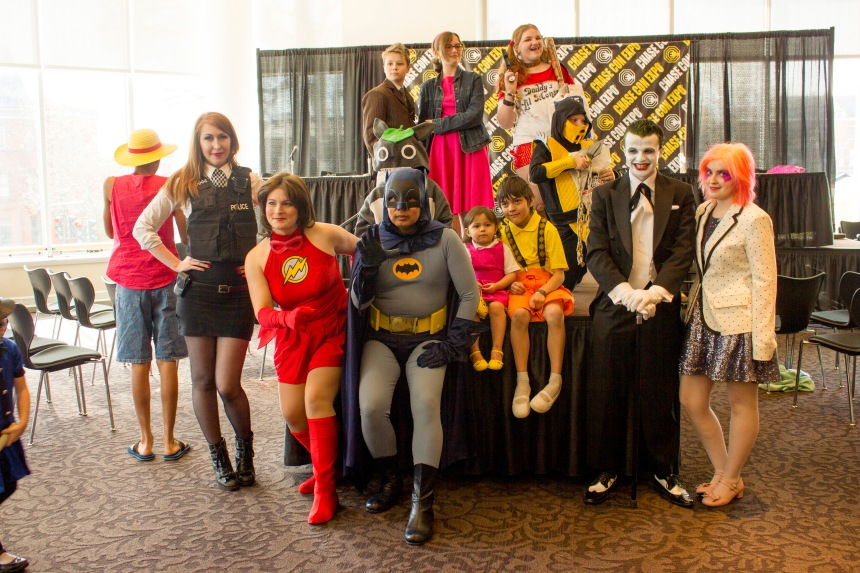 This one's from the kid's cosplay contest that me & Coty were judges of. We're the Joker & Jem on the right ;D